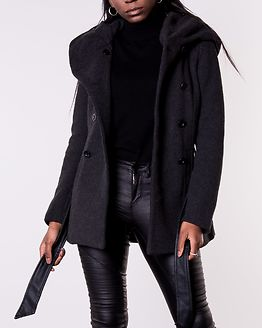 Lisa Rianna Short Wool Coat Dark Grey Melange