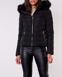 New Ellan Quilted Fur Hood Jacket Black/Black Fur