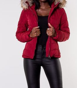 New Ellan Quilted Fur Hood Jacket Merlot