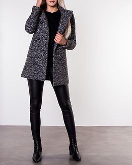Sophia Boucle Wool Coat Dark Grey Melange