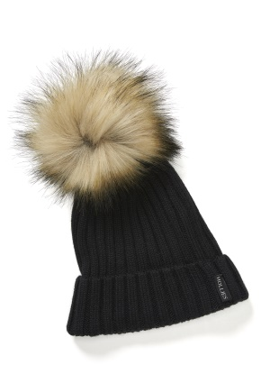 Hollies PomPom Classic Hat Black/Nat One size