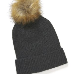 ONLY Simma Knit Pompom Beanie Dark Grey Melange One size
