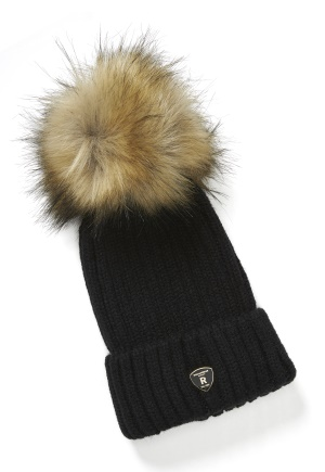 ROCKANDBLUE Pom Pom Hat Black/Natural One size